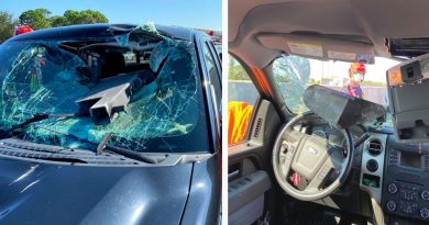 """Florida driver is """"Miraculously saved"""" after the impact of a piece of metal in his vehicle"""