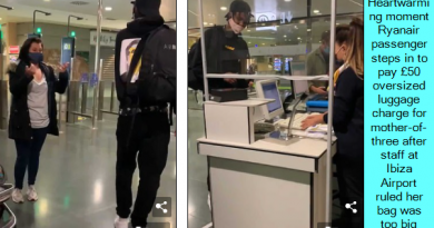 Heartwarming moment Ryanair passenger steps in to pay £50 oversized luggage charge for mother-of-three after staff at Ibiza Airport ruled her bag was too big for the cabin