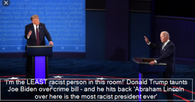 Trump -'I'm the LEAST racist person in this room!' Donald Trump taunts Joe Biden over crime bill – and he hits back 'Abraham Lincoln over here is the most racist president ever'