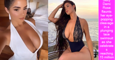 Sexy Demi Rose flaunts her eye-popping cleavage in a plunging lace swimsuit as she celebrates reaching 15 million followers