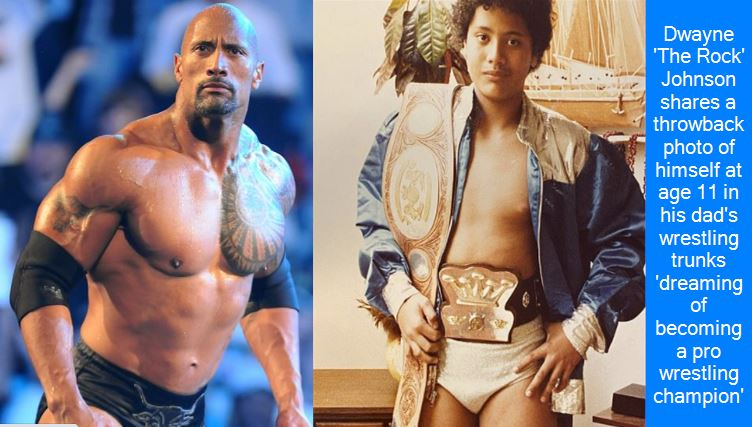 Dwayne 'The Rock' Johnson shares a throwback photo of himself at age 11 in his dad's wrestling trunks 'dreaming of becoming a pro wrestling champion'