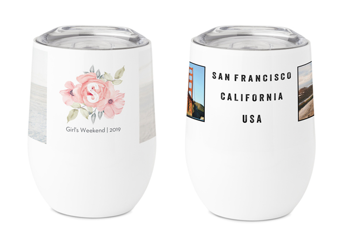 Two travel mugs that have been personalized.
