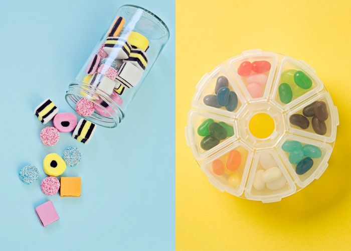 Two types of candy pills.