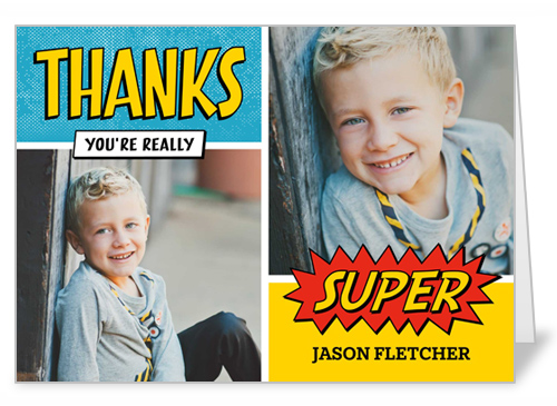a boy's super hero kids thank you card from Birthday