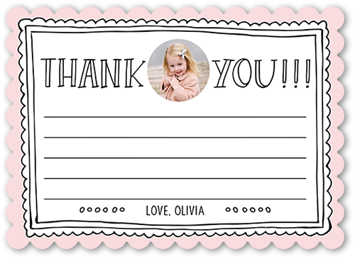a girl's pink kids thank you card from Birthday
