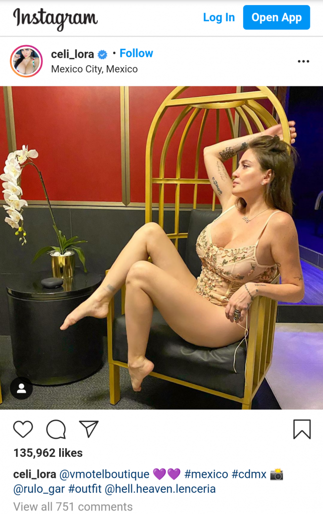 Celia Lora shows off her hips to the fullest in a sexy lace bodysuit