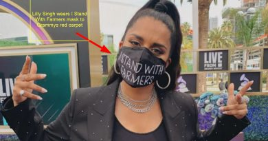 lilly singh wears i stand with farmers mask to grammys red carpet. see viral pic