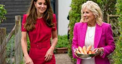 us first lady jill biden and britain s catherine duchess of cambridge carry carrots during a visit to connor downs academy in hayle cornwall britain reuters